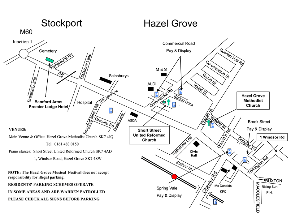 Map of Hazel Grove and the locations of the Hazel Grove Musical Festival